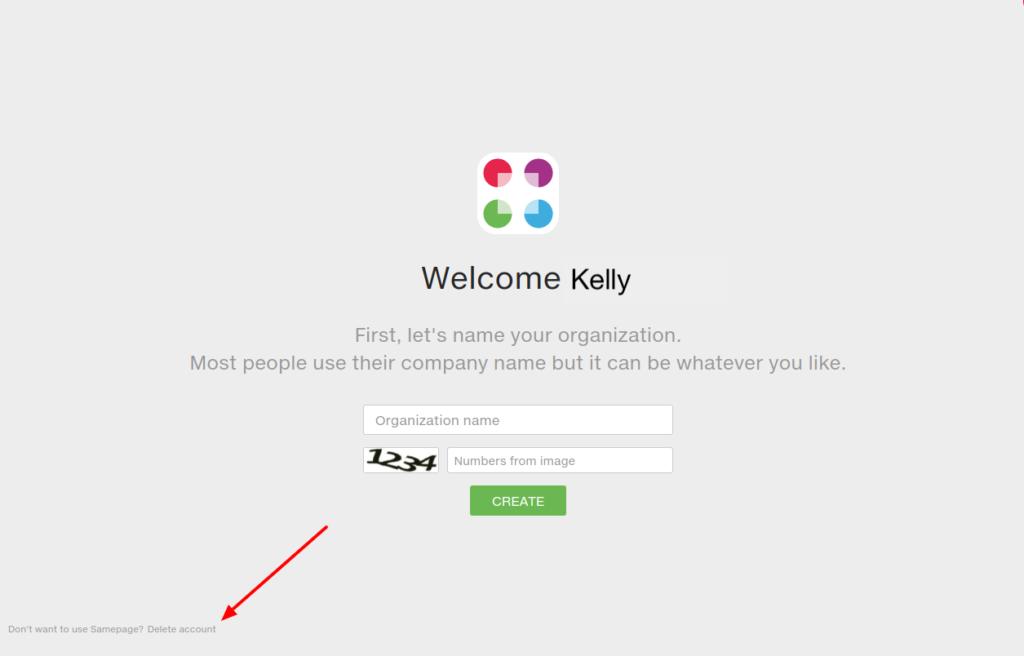 Delete account option on Create organization screen