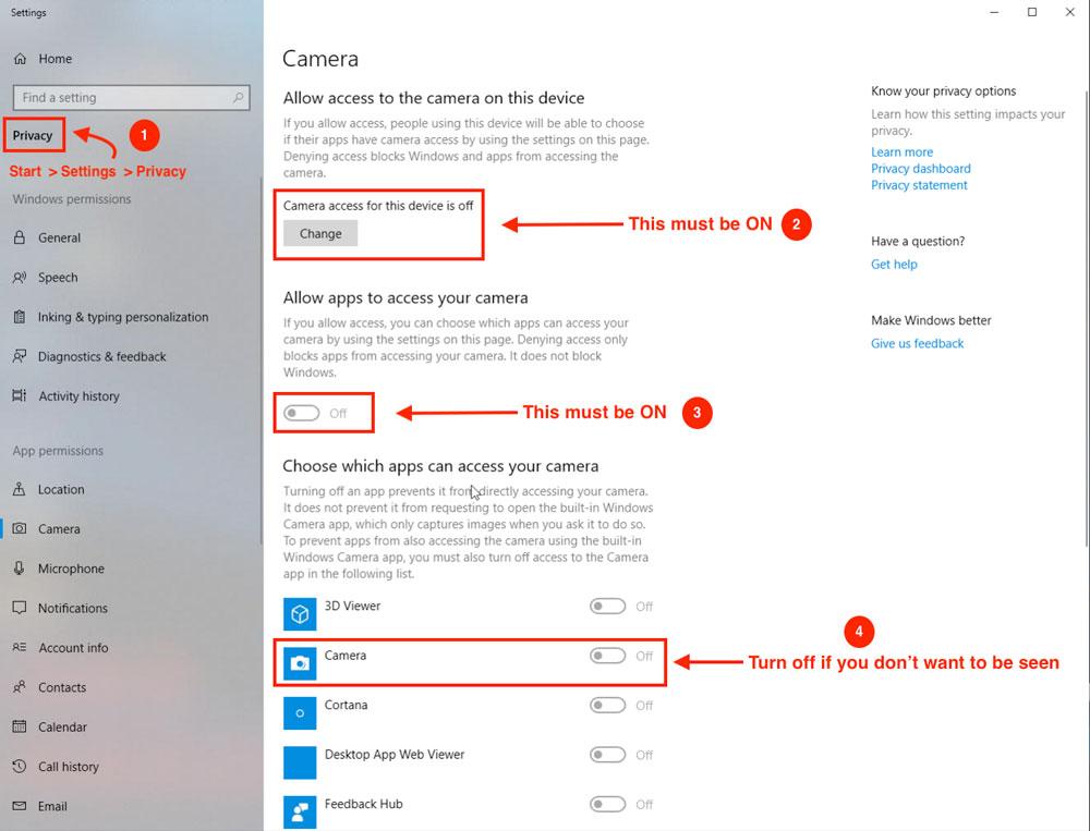 Camera access on Windows