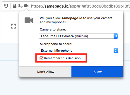 Firefox camera and microphone settings
