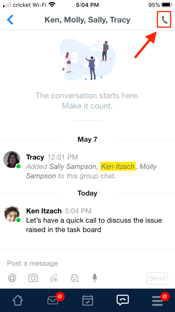 Mobile call group chat
