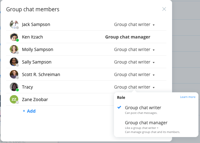 Manage group chats