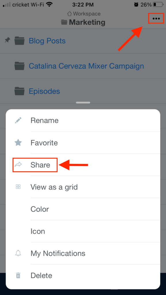 Share Folder Mobile Step 1