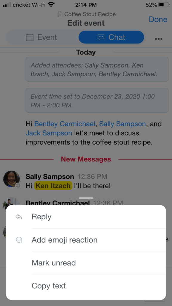 Mobile Event Chat Reply
